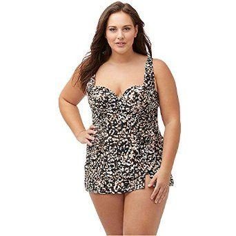 8ea949ff452 Womens Plus Size Sweetheart Neckline Printed One Piece Bikini Dress ...