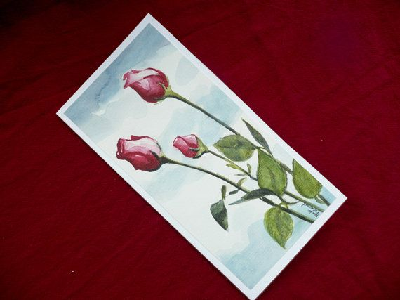 Hand Painted Greeting Card Watercolor Greeting Card Rose
