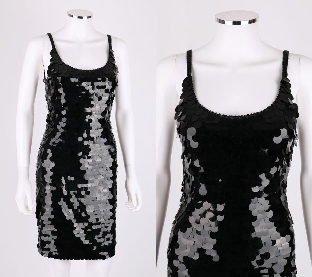 Vtg saks fifth avenue black paillette sequined sleeveless evening ...