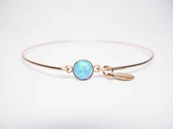 14k Gold Filled 6mm Blue Opal Bangle Bracelet By Stiacouture 35 00