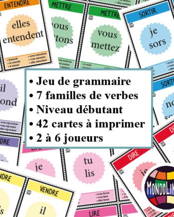Jeu De 7 Familles Pour La Classe De Francais Fle Sur La Conjugaison Des Verbes Entendre Mettre Vendre Repondre D Conjugaison Verbe Conjugaison Verbe Etre