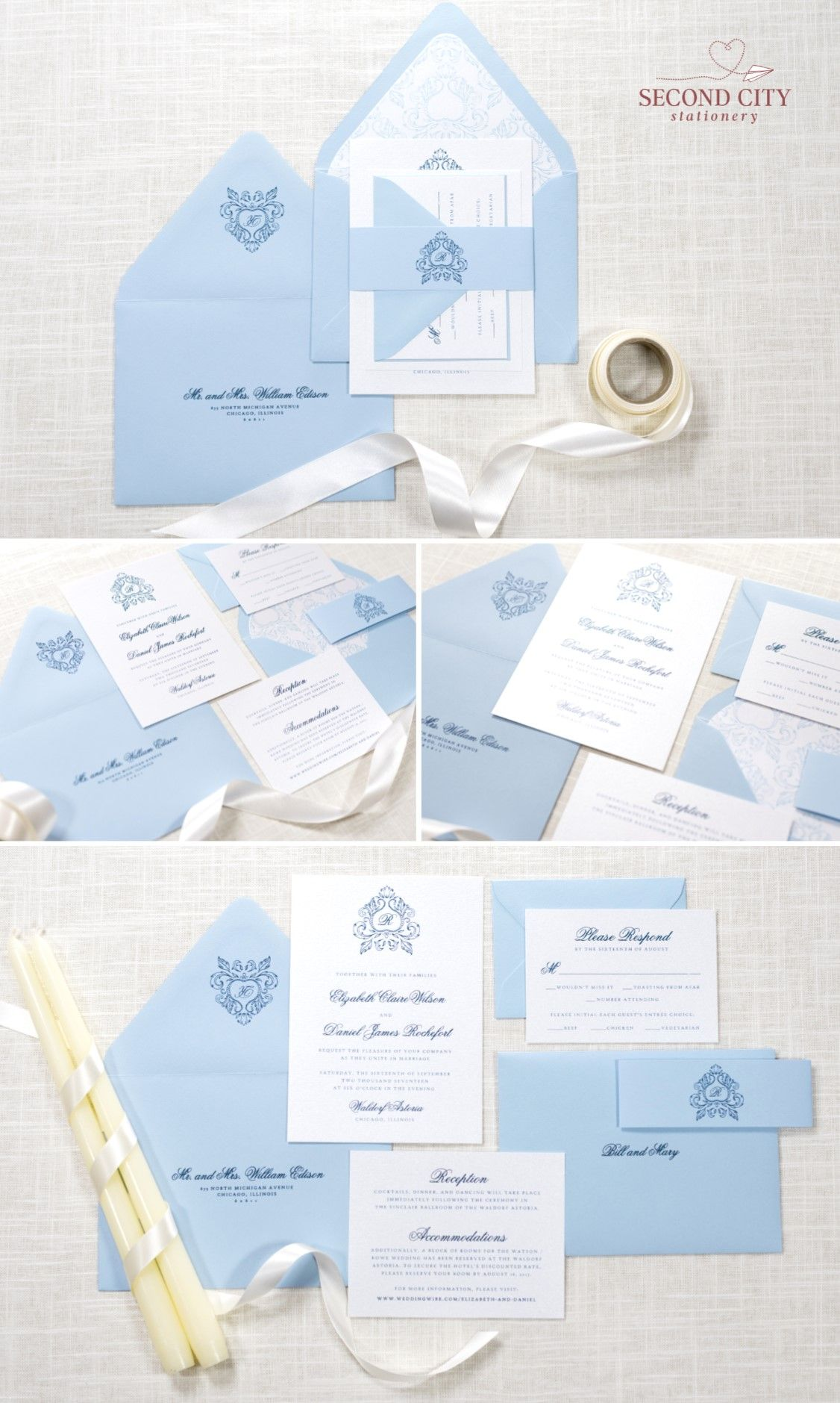 Pale Serenity Blue And Ice Silver Wedding Invitation With Ornate