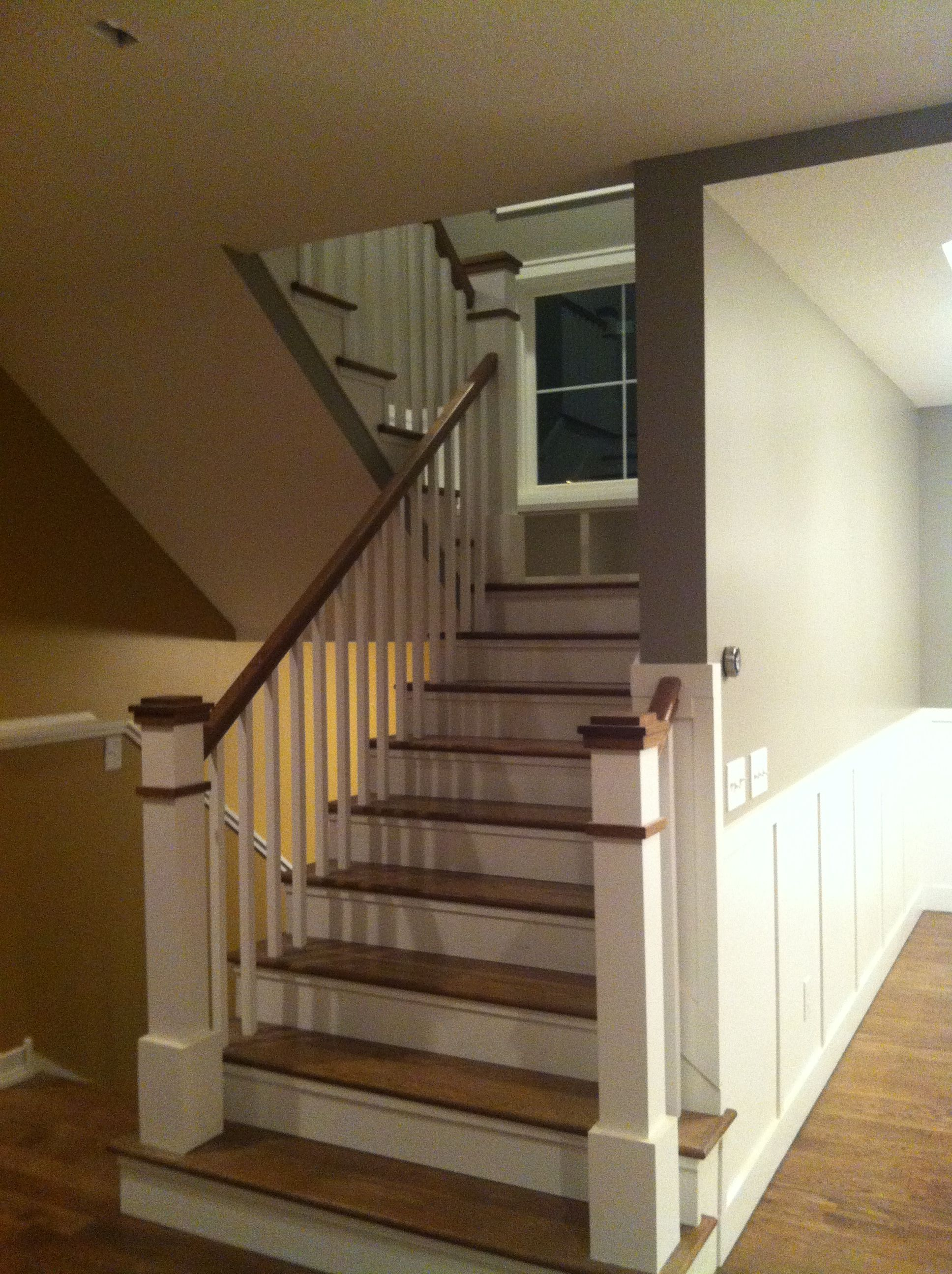 Staircase Window Seat On Landing Custom Newell Post Dark Treads White Risers On Stairs