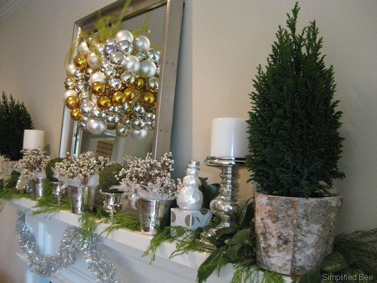 white silver green christmas mantel decor simplified bee - Green And Silver Christmas Decorations