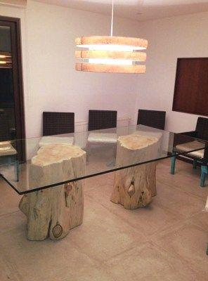Tavolo con 2 basi in tronco e piano in cristallo 200x90x80 | Alice ...
