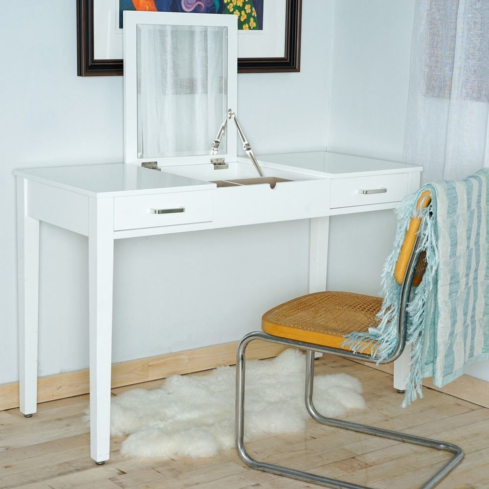 haven home ainsley white vanity desk with built in usb port home