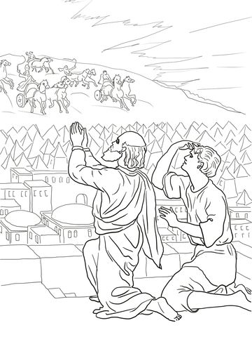 Elisha Fiery Army Coloring Page Bible Coloring Pages Sunday