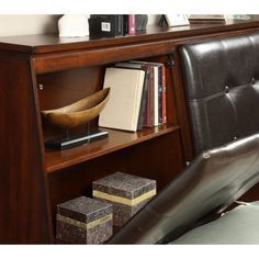 FOA  Odessa Contemporary Tufted Leather Headboard Storage Bed In Brown  Cherry
