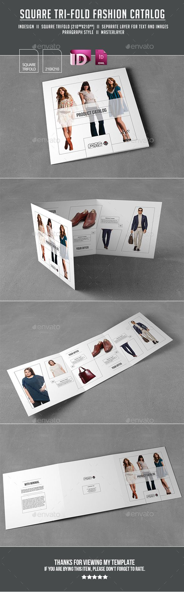 Trifold Brochure by ashuras sharif This is a Minimal Fashion Brochure Template This template are Square tri fold layout Suitable for modern fashion house