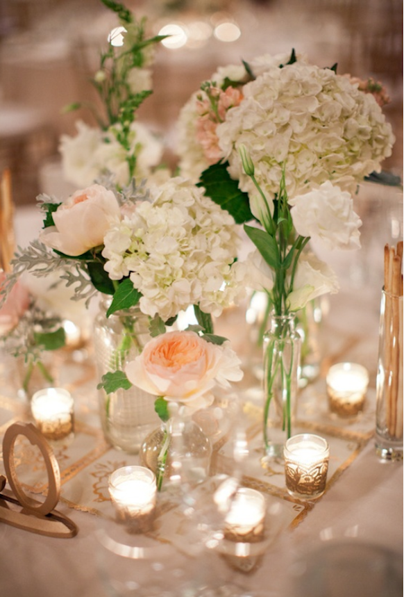 When pretty pink or champagne roses and white hydrangeas