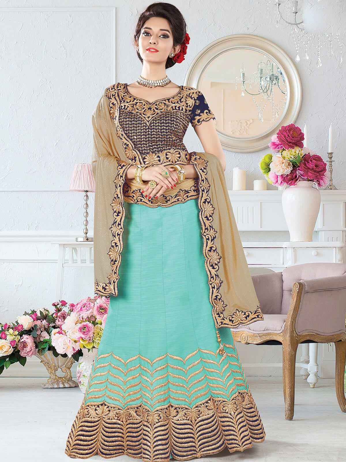 Unique sky blue and beige silk wedding wear designer lehenga choli ...