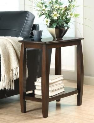 Contemporary styling Walnut finish wood frame chair side end table with lower shelf