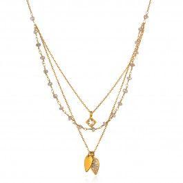 White Topaz Labradorite Triple Petal Necklace  - Lotus Petals - Collections | Satya Jewelry