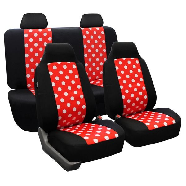 fh group red and black polka dots car seat covers full set overstock shopping big. Black Bedroom Furniture Sets. Home Design Ideas