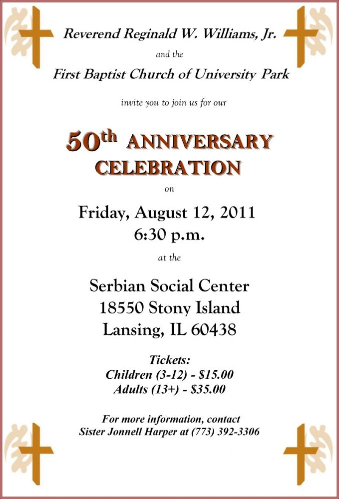 Church 50th Anniversary Invitations | History of FBCUP ...