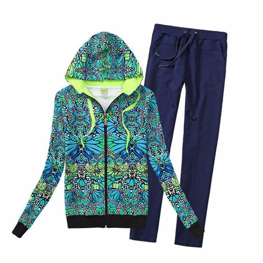 New Cotton Print Zipper Tracksuit Women Two-piece Suit Hoodie Set Green Sweatshirt+Pant Femme Plus Size XXL