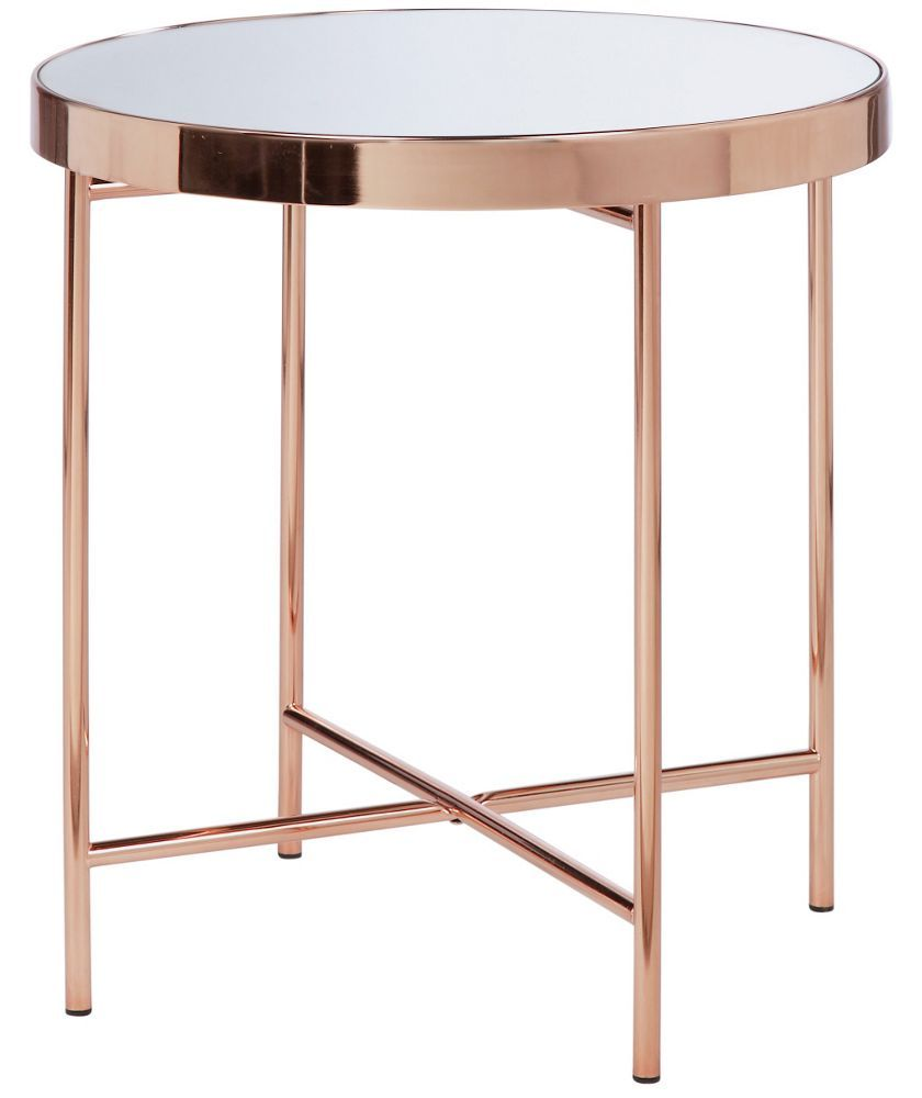 Round Glass Bedside Table Buy Collection Round Glass Top Side Table Copper Plated At Argos