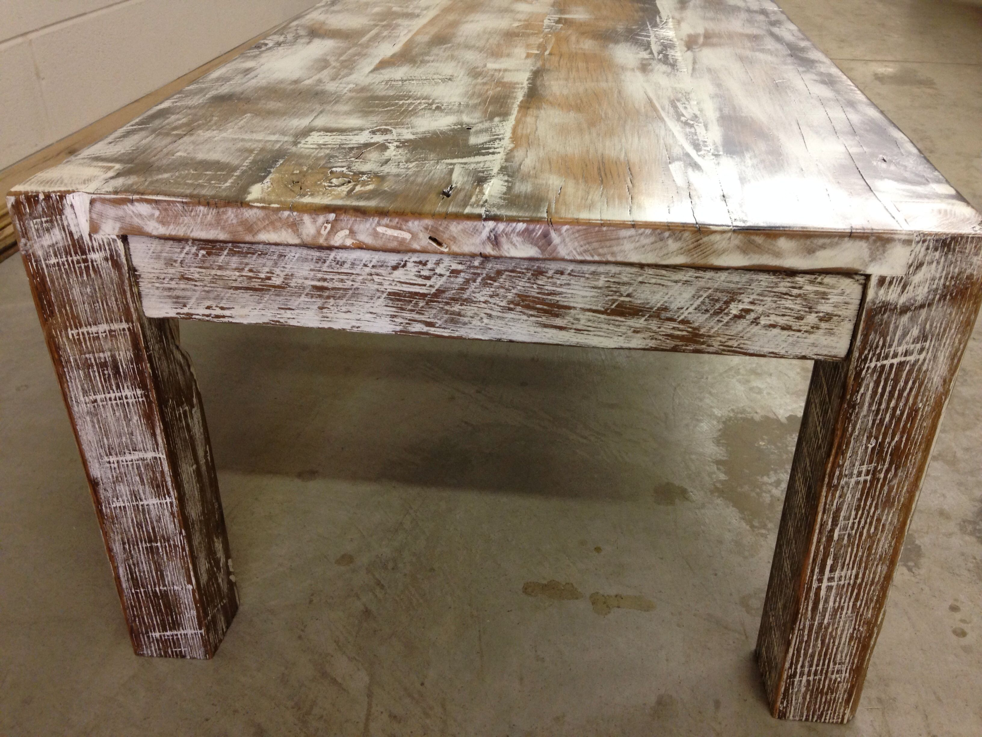 Whitewashed coffee table reclaimed wood
