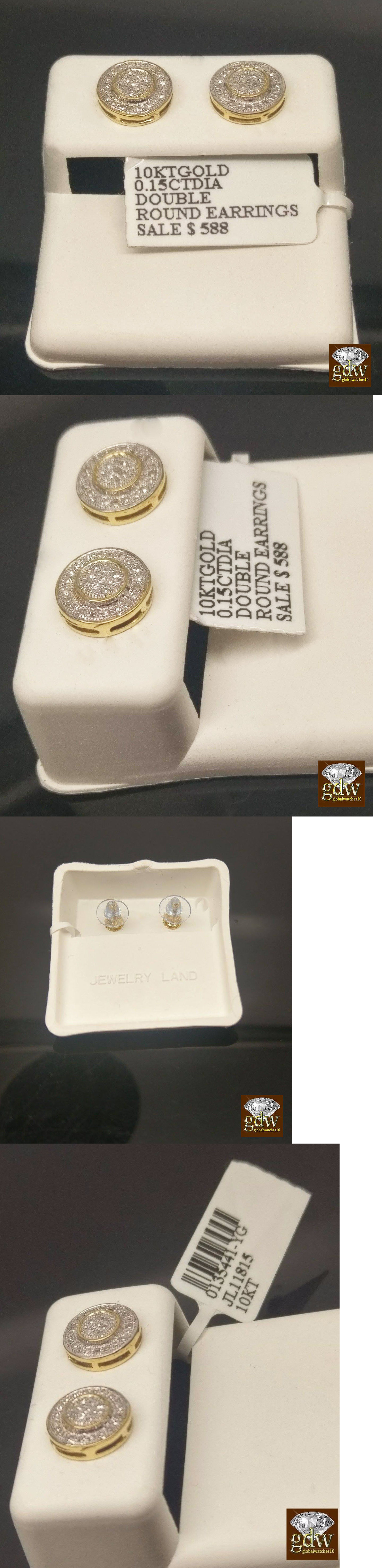 Earrings Studs Real 10K Yellow Gold 0 15Ct Diamonds Round 3D