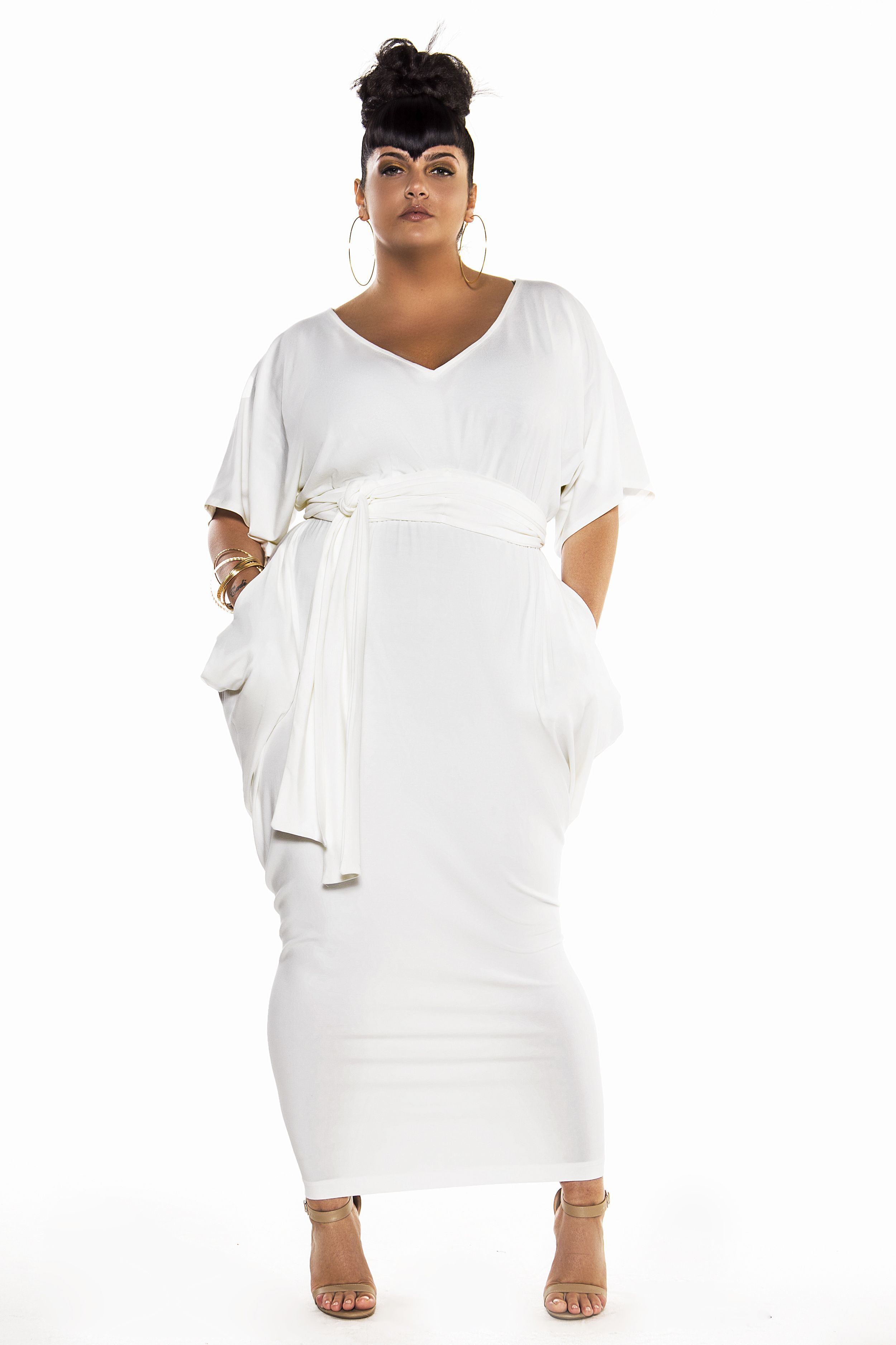 Bat Sleeved Slouch V Neck Maxi Dress | clothes for the ...
