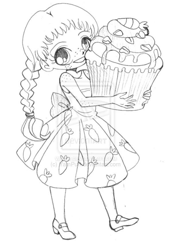 Yampuff Kleurplaat Yampuff Food Chibi Girls Coloring Pages Sketch Coloring Page