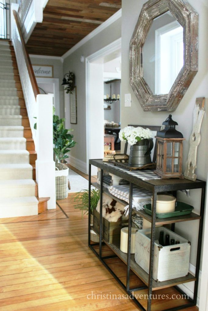 Modern farmhouse hallway styling makeover