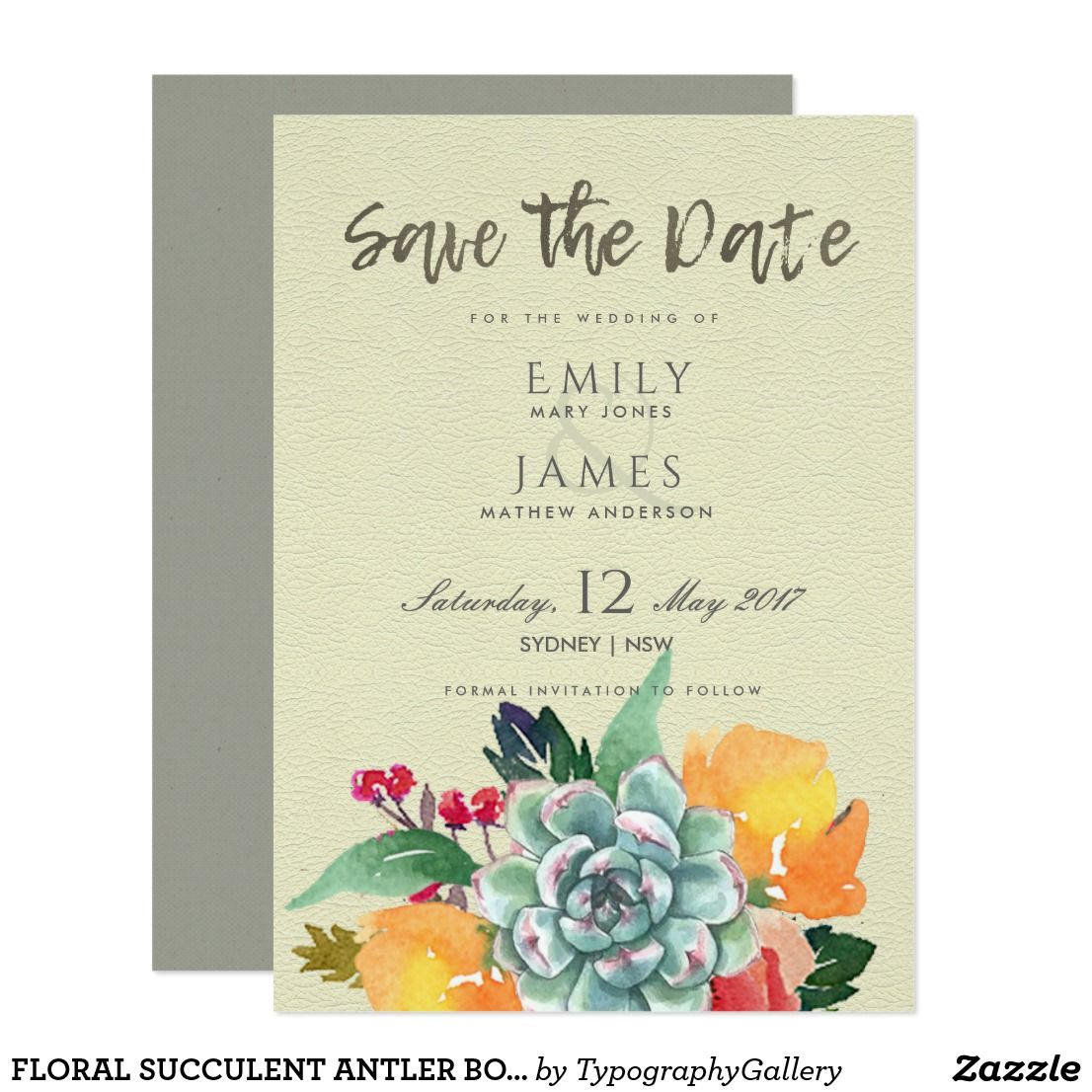 Floral Succulent Antler Bohemian Save The Date Card Boho Weddings