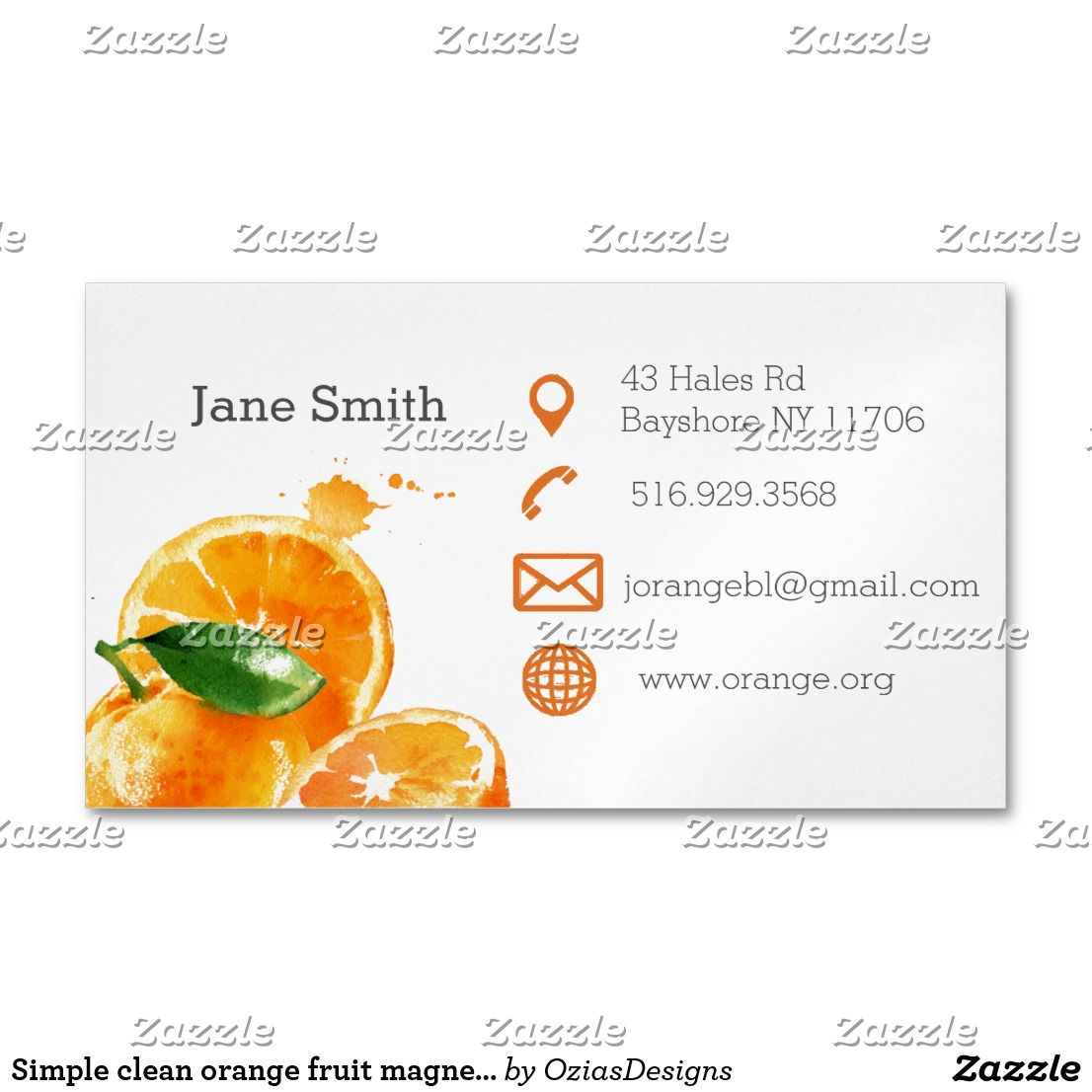 Simple Clean Orange Fruit Magnetic Business Cards Business Cards