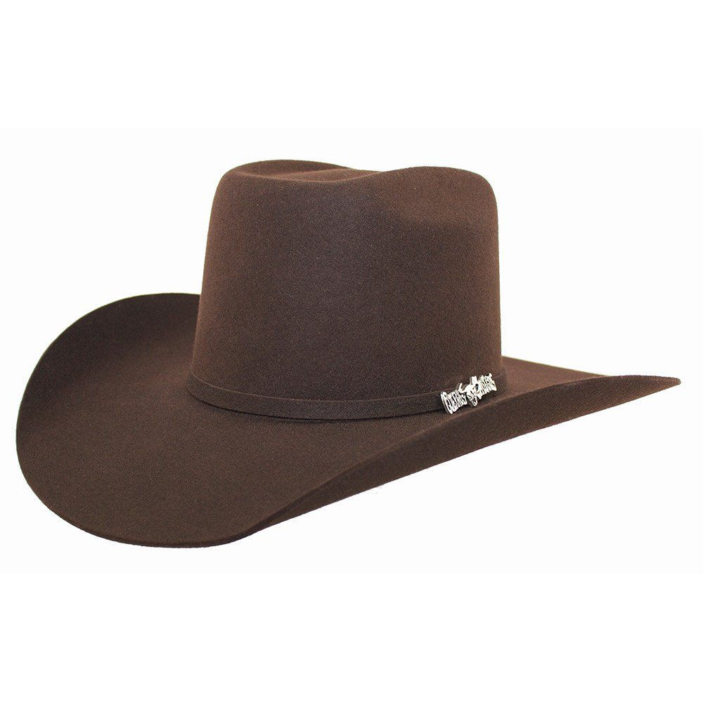 38628d037a Cuernos Chuecos Chocolate 6X Brick Crown Felt Hat