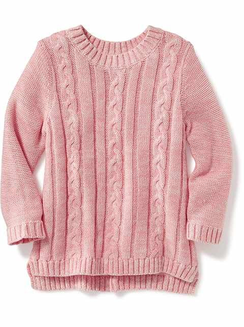 Pink Cable Knit Sweater: Toddler Girls 12M 5T | Old Navy