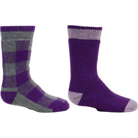 Kodiak Girls Thermal Wool Crew Socks - 2PRS, Purple