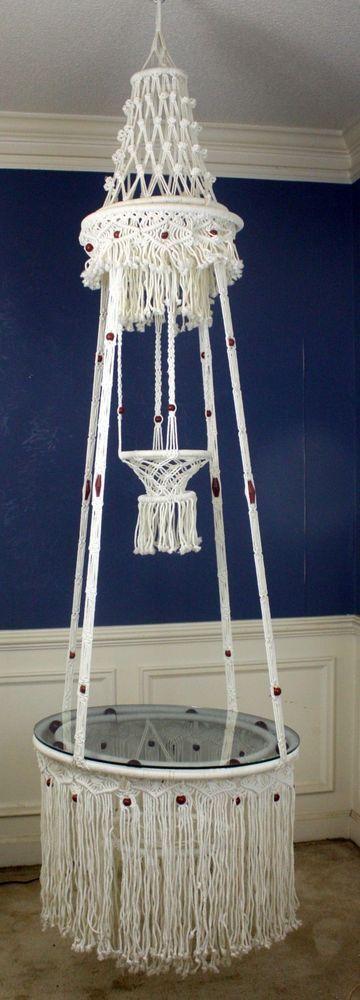 Vintage Retro Multi-Tier Macrame Hanging Planter w ...