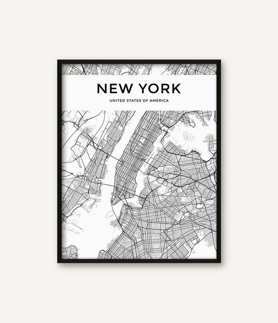New York City Map Print Map of New York Black and White New York