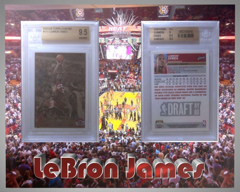 200304 lebron james topps chrome rookie bgs 95 gem mint