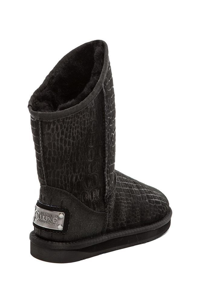 NEW Australia Luxe  Cosy X Short Croc Black Suede Sheepskin Boots Size 11 #AustraliaLuxeCollective #SnowWinterBoots #Casual