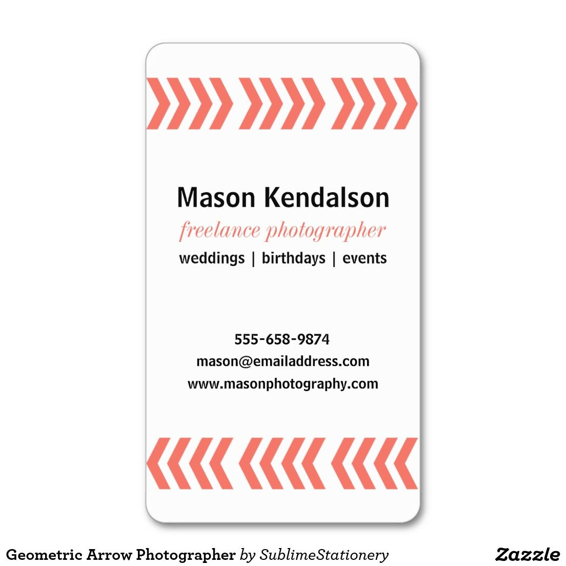 Geometric Arrow Photographer Business Card Geometric Arrow