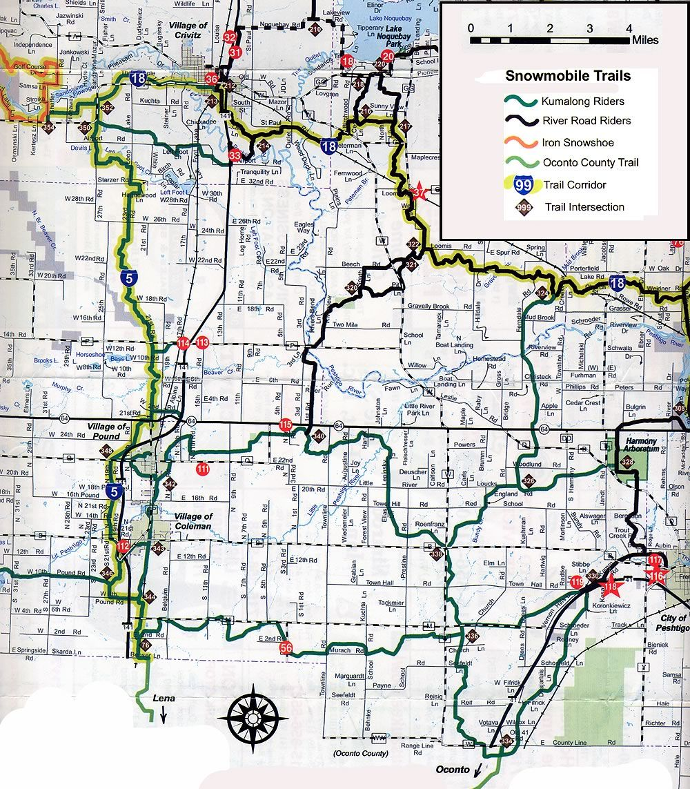 Coleman WI snowmobile trail map Brap Pinterest