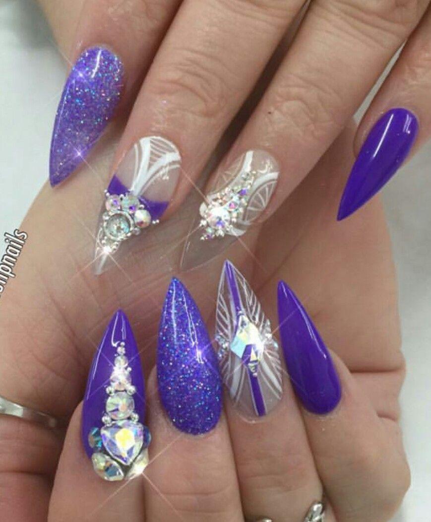 Purple rhinestone nails design nailart   Nails   Pinterest ...