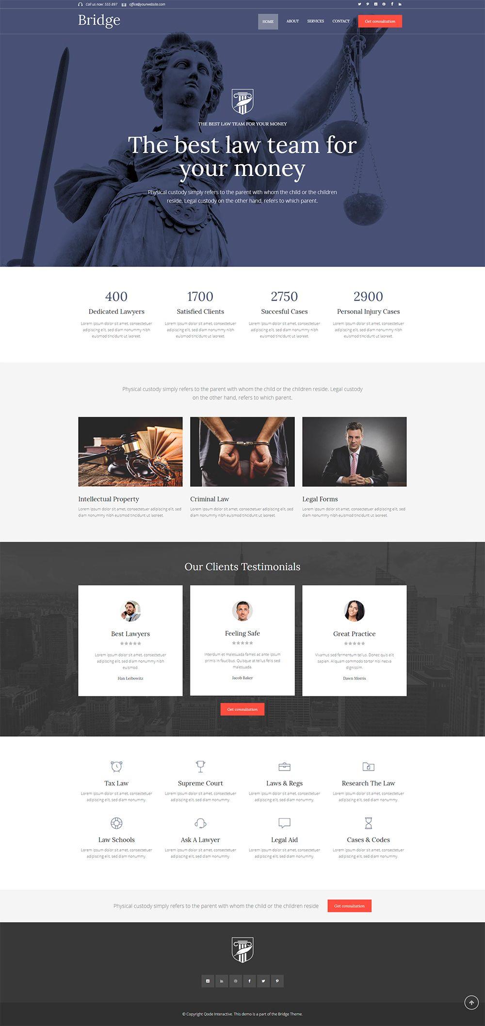 Bridge Wordpress Theme Law Firm Demo Law Firm Website Law Firm Website Design Lawyer Website Design
