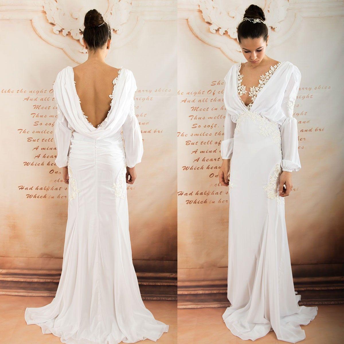 Deep V neck long sleeves chiffon wedding dress