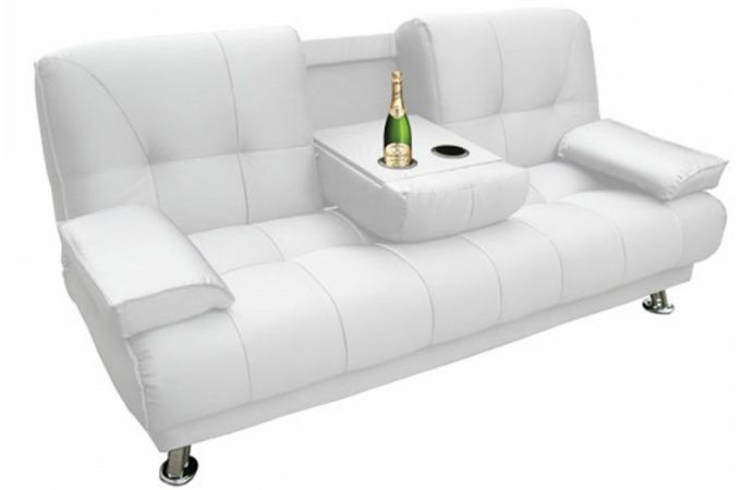Canape Convertible 3 Places Blanc Turando Deco Design