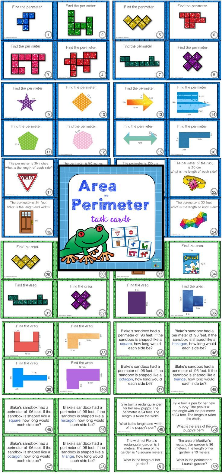 Area and Perimeter Task Cards. White\'s Workshop https://www ...