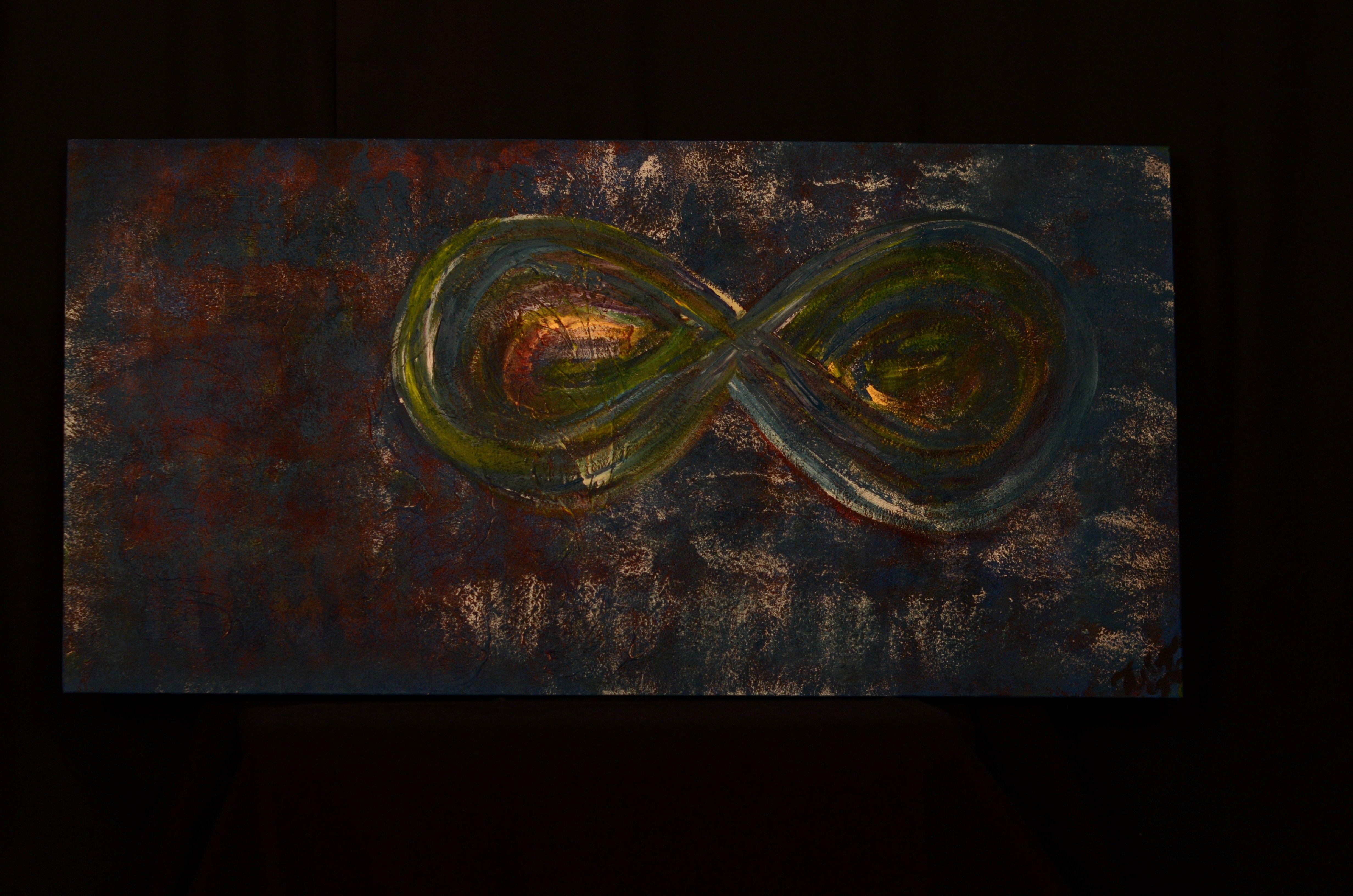 """""""Oneindig geluk!"""": De hemelse kleuren, het oneindige teken gevuld met kleuren. Oneindig geluk, iedereen is gevuld met dit teken!"""