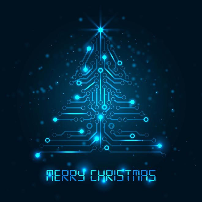Blue Christmas Tree Wallpaper: Free Vector Digital Merry Christmas Text With Abstract