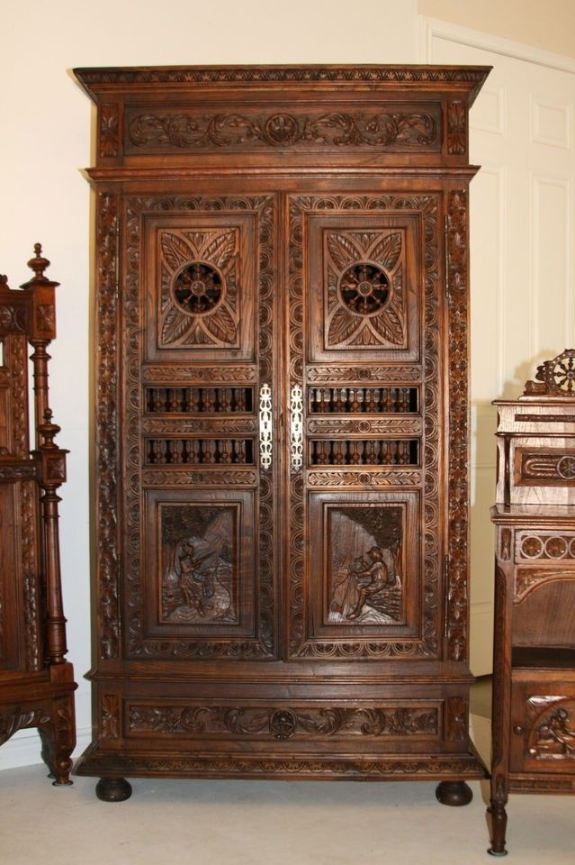 Merveilleux Brittany Antique French Armoire Wardrobe Breton Carved Double Door