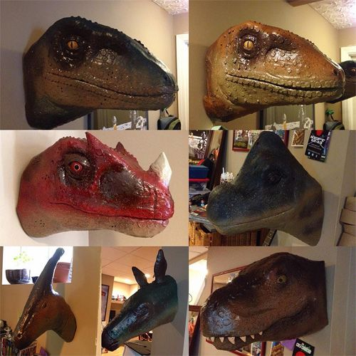 Dinosaur Heads Made From Cardboard And Duct Tape With