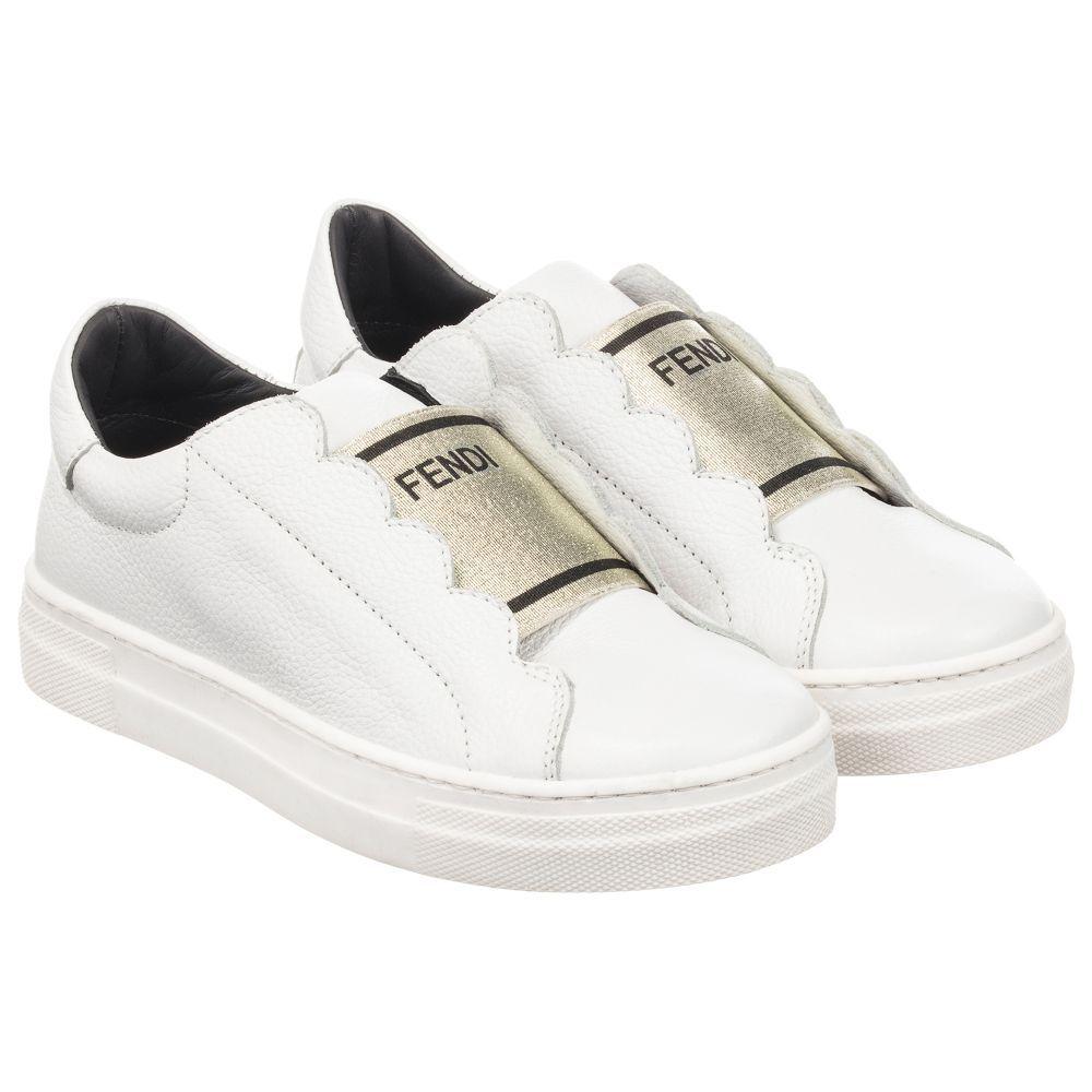 dbdde1858462 Fendi - White Leather Slip On Trainers