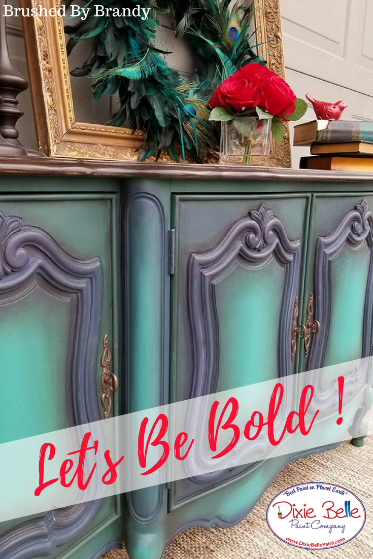 Bold And Beautiful Brushed By Brandy Created This Unique Design With Dixie Belle Paint Sho Chalk Paint Furniture Diy Dixie Belle Paint Blue Painted Furniture