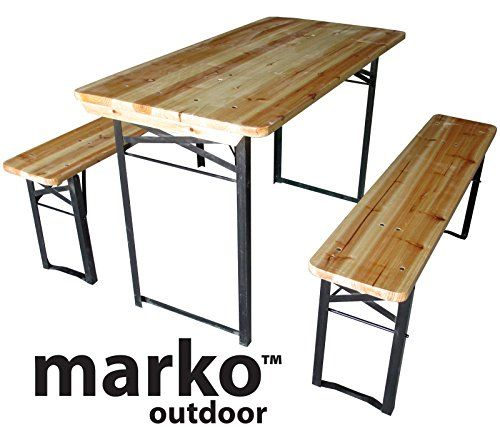 Marko Outdoor Wooden Folding Beer Table Bench Set Outdoor Garden ...