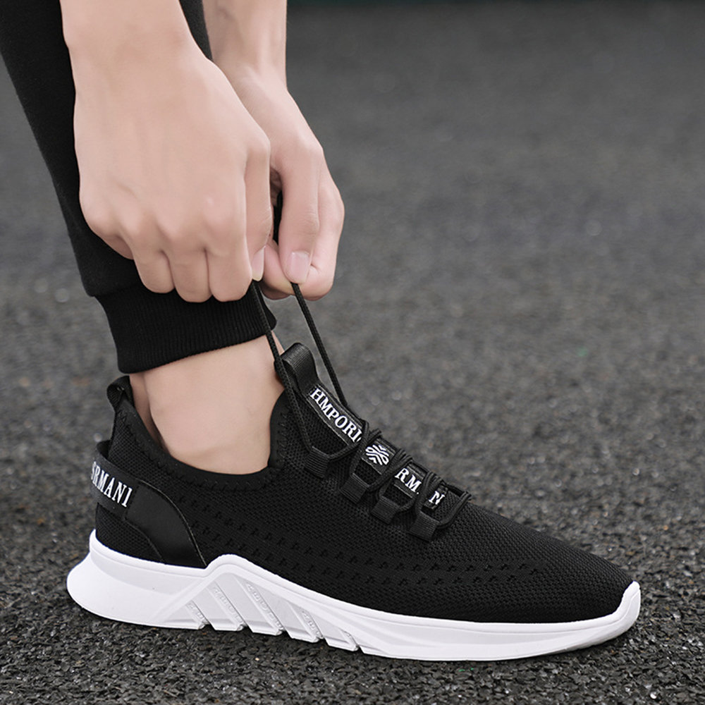 d7f1bd9f4306 Men Knitted Fabric Breathable Lace Up Non-slip Running Sneakers ...